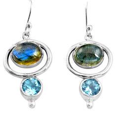 8.52cts natural blue labradorite topaz 925 silver dangle earrings p77557