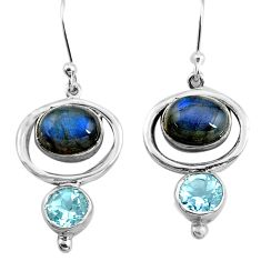 8.23cts natural blue labradorite topaz 925 silver dangle earrings p77560