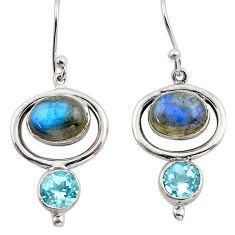 8.22cts natural blue labradorite topaz 925 silver dangle earrings p88473