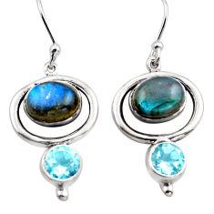 8.54cts natural blue labradorite topaz 925 silver dangle earrings p88475