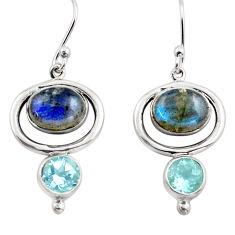 8.22cts natural blue labradorite topaz 925 silver dangle earrings p88477