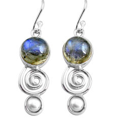 12.36cts natural blue labradorite white pearl 925 silver dangle earrings p85598