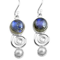 12.36cts natural blue labradorite white pearl 925 silver dangle earrings p85599