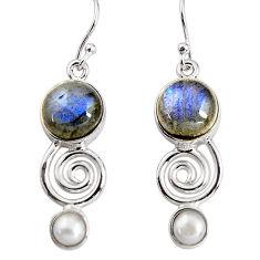 12.07cts natural blue labradorite white pearl 925 silver dangle earrings p91493
