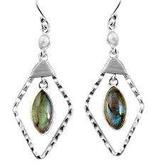 13.15cts natural blue labradorite white pearl 925 silver dangle earrings p91557