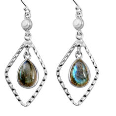8.80cts natural blue labradorite white pearl 925 silver dangle earrings p92497