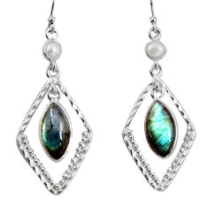 8.77cts natural blue labradorite white pearl 925 silver dangle earrings p92498