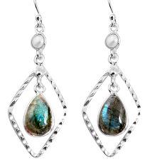 9.16cts natural blue labradorite white pearl 925 silver dangle earrings p92500