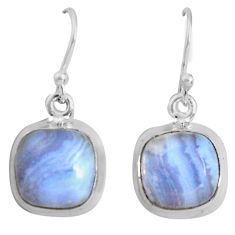 9.37cts natural blue lace agate 925 sterling silver dangle earrings p89314