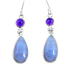 16.04cts natural blue lace agate amethyst 925 silver dangle earrings p47884