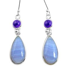 16.07cts natural blue lace agate amethyst 925 silver dangle earrings p47891