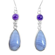 16.71cts natural blue lace agate amethyst 925 silver dangle earrings p47896