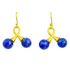 14.72cts natural blue lapis lazuli 925 silver 14k gold dangle earrings p50143