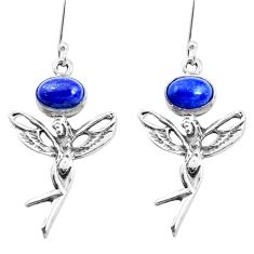 4.73cts natural blue lapis lazuli 925 silver angel wings fairy earrings p38481