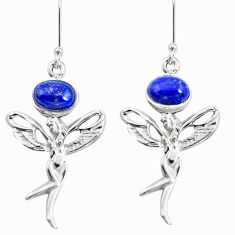 4.03cts natural blue lapis lazuli 925 silver angel wings fairy earrings p50759