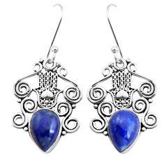 6.59cts natural blue lapis lazuli 925 silver hand of god hamsa earrings p41449