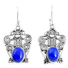 6.34cts natural blue lapis lazuli 925 silver hand of god hamsa earrings p51986
