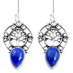 5.81cts natural blue lapis lazuli 925 silver tree of life earrings p41470
