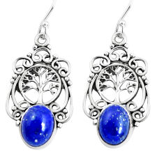 6.33cts natural blue lapis lazuli 925 silver tree of life earrings p51993