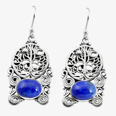 6.96cts natural blue lapis lazuli 925 silver tree of life earrings p58336