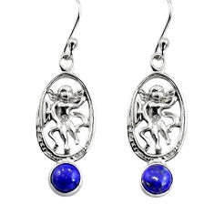 1.99cts natural blue lapis lazuli 925 sterling silver angel earrings p84951