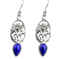 4.23cts natural blue lapis lazuli 925 sterling silver angel earrings p84958