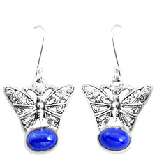 4.21cts natural blue lapis lazuli 925 sterling silver butterfly earrings p38477
