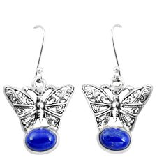 4.66cts natural blue lapis lazuli 925 sterling silver butterfly earrings p38500
