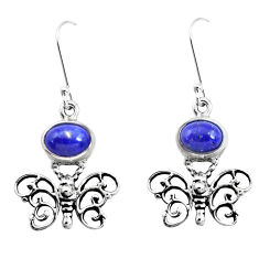 4.38cts natural blue lapis lazuli 925 sterling silver butterfly earrings p50743