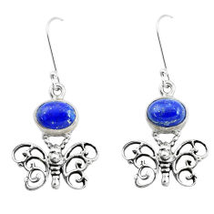 4.38cts natural blue lapis lazuli 925 sterling silver butterfly earrings p50766