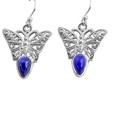 4.52cts natural blue lapis lazuli 925 sterling silver butterfly earrings p84886