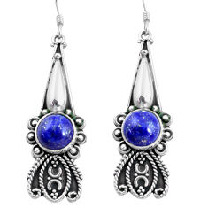 11.97cts natural blue lapis lazuli 925 sterling silver dangle earrings d31530