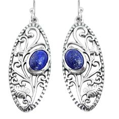 Clearance Sale- 4.07cts natural blue lapis lazuli 925 sterling silver dangle earrings d31595