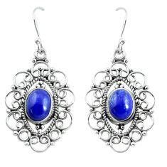 5.79cts natural blue lapis lazuli 925 sterling silver dangle earrings d31623