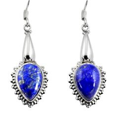 10.81cts natural blue lapis lazuli 925 sterling silver dangle earrings d32413