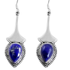 11.65cts natural blue lapis lazuli 925 sterling silver dangle earrings d32446