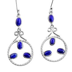 10.02cts natural blue lapis lazuli 925 sterling silver dangle earrings d32463