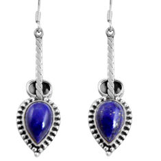 10.85cts natural blue lapis lazuli 925 sterling silver dangle earrings d32478