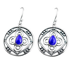 3.01cts natural blue lapis lazuli 925 sterling silver dangle earrings d32482
