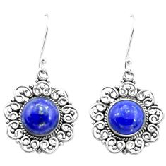 6.58cts natural blue lapis lazuli 925 sterling silver dangle earrings p26370