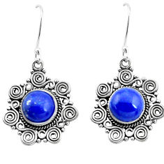 8.43cts natural blue lapis lazuli 925 sterling silver dangle earrings p26371