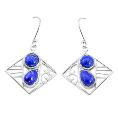 7.76cts natural blue lapis lazuli 925 sterling silver dangle earrings p32483