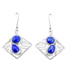7.51cts natural blue lapis lazuli 925 sterling silver dangle earrings p32485