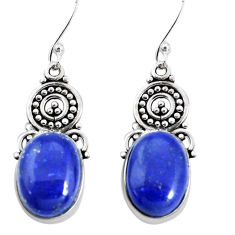 14.12cts natural blue lapis lazuli 925 sterling silver dangle earrings p32705