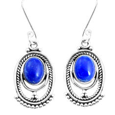 4.36cts natural blue lapis lazuli 925 sterling silver dangle earrings p39289