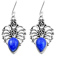 6.58cts natural blue lapis lazuli 925 sterling silver dangle earrings p41308