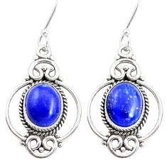 8.46cts natural blue lapis lazuli 925 sterling silver dangle earrings p41368