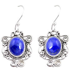 7.50cts natural blue lapis lazuli 925 sterling silver dangle earrings p41385