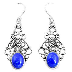 6.10cts natural blue lapis lazuli 925 sterling silver dangle earrings p51988