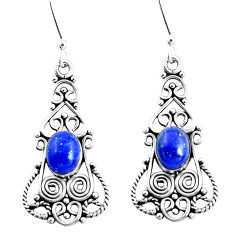 5.78cts natural blue lapis lazuli 925 sterling silver dangle earrings p51991